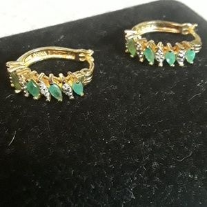 925 emerald and cz hoop earrings